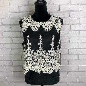 Design Labs Embroidered Black and White Crop Top